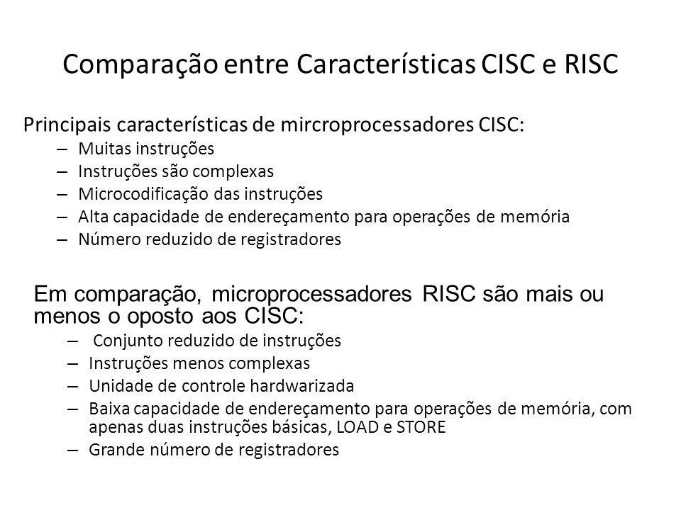 Comparação entre Características CISC e RISC