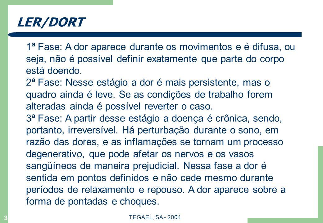 LER/DORT 1ª Fase: A dor aparece durante os movimentos e é difusa, ou seja, não é possível definir exatamente que parte do corpo está doendo.