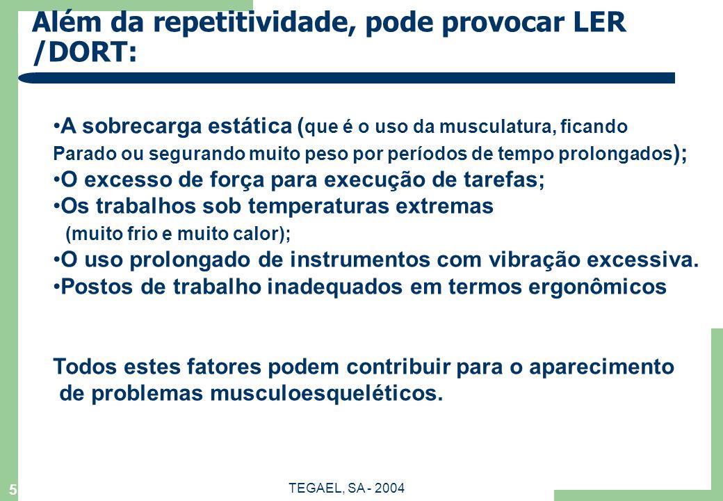Além da repetitividade, pode provocar LER /DORT: