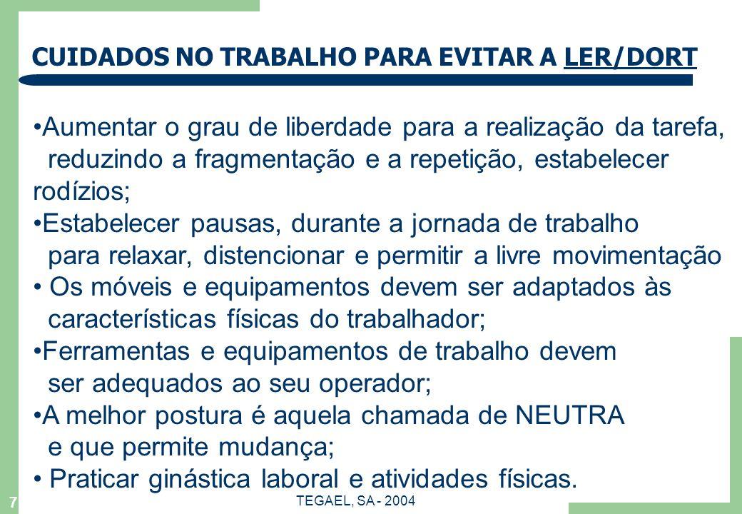 CUIDADOS NO TRABALHO PARA EVITAR A LER/DORT