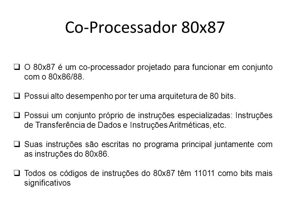 Co-Processador 80x87O 80x87 é um co-processador projetado para funcionar em conjunto com o 80x86/88.