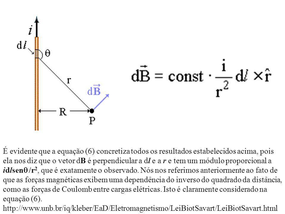 É evidente que a equação (6) concretiza todos os resultados estabelecidos acima, pois ela nos diz que o vetor dB é perpendicular a dl e a r e tem um módulo proporcional a idlsenq /r2, que é exatamente o observado.