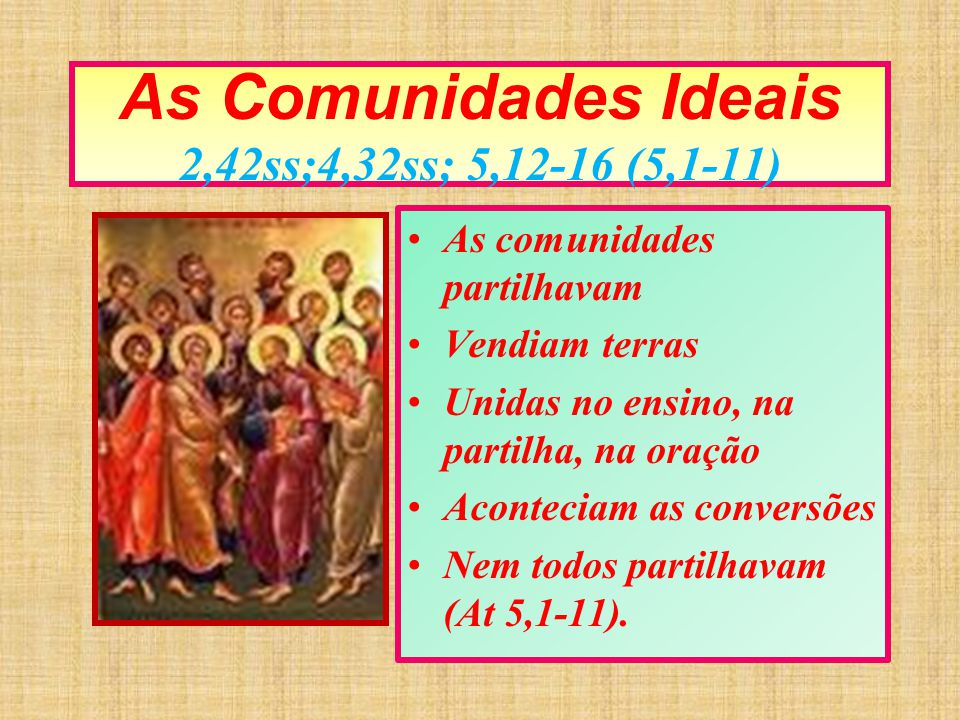 As Comunidades Ideais 2,42ss;4,32ss; 5,12-16 (5,1-11)