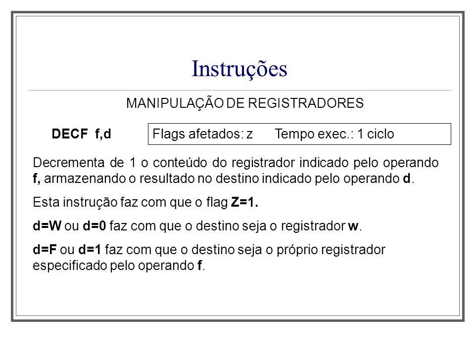 MANIPULAÇÃO DE REGISTRADORES