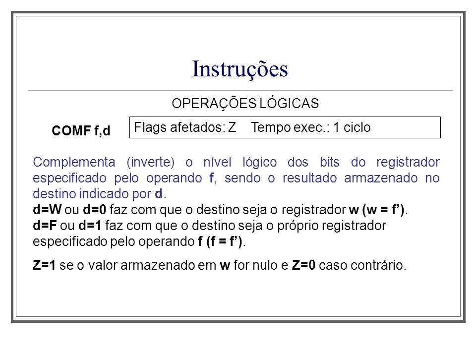 Instruções OPERAÇÕES LÓGICAS Flags afetados: Z Tempo exec.: 1 ciclo