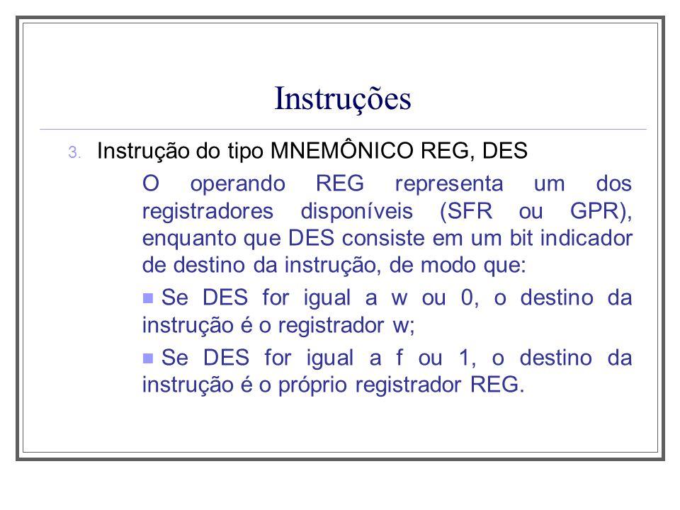 Instruções Instrução do tipo MNEMÔNICO REG, DES