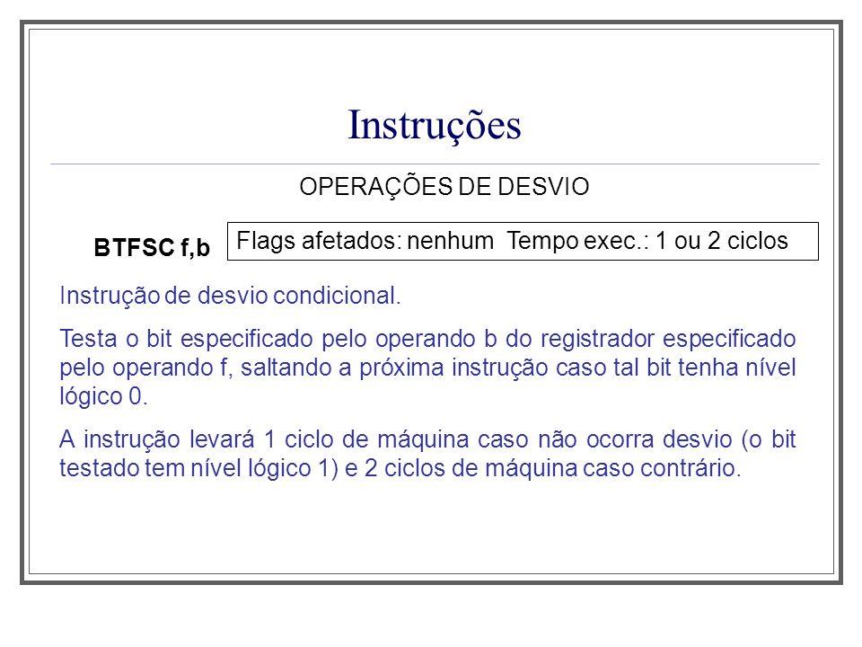 Instruções OPERAÇÕES DE DESVIO
