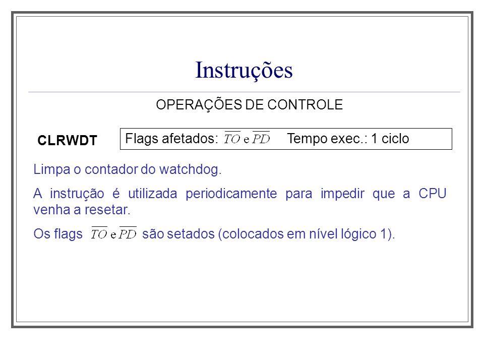 Instruções OPERAÇÕES DE CONTROLE Flags afetados: Tempo exec.: 1 ciclo