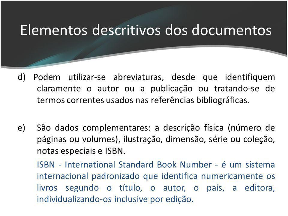 Elementos descritivos dos documentos