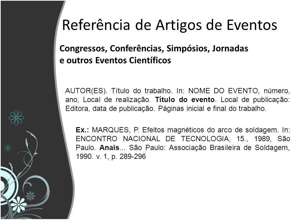 Referência de Artigos de Eventos