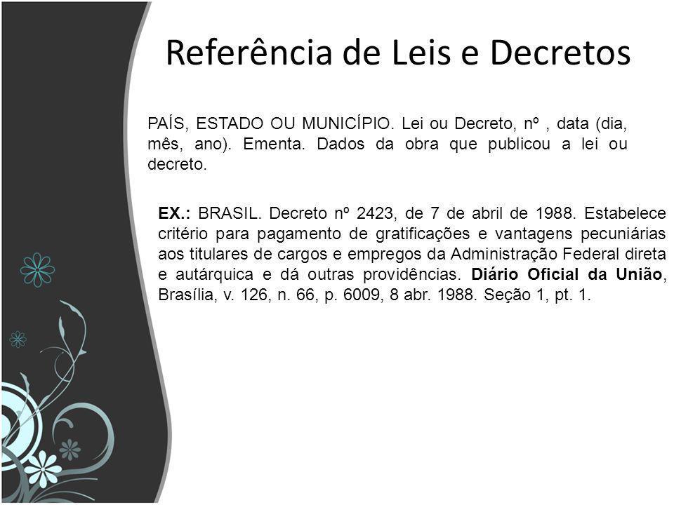 Referência de Leis e Decretos