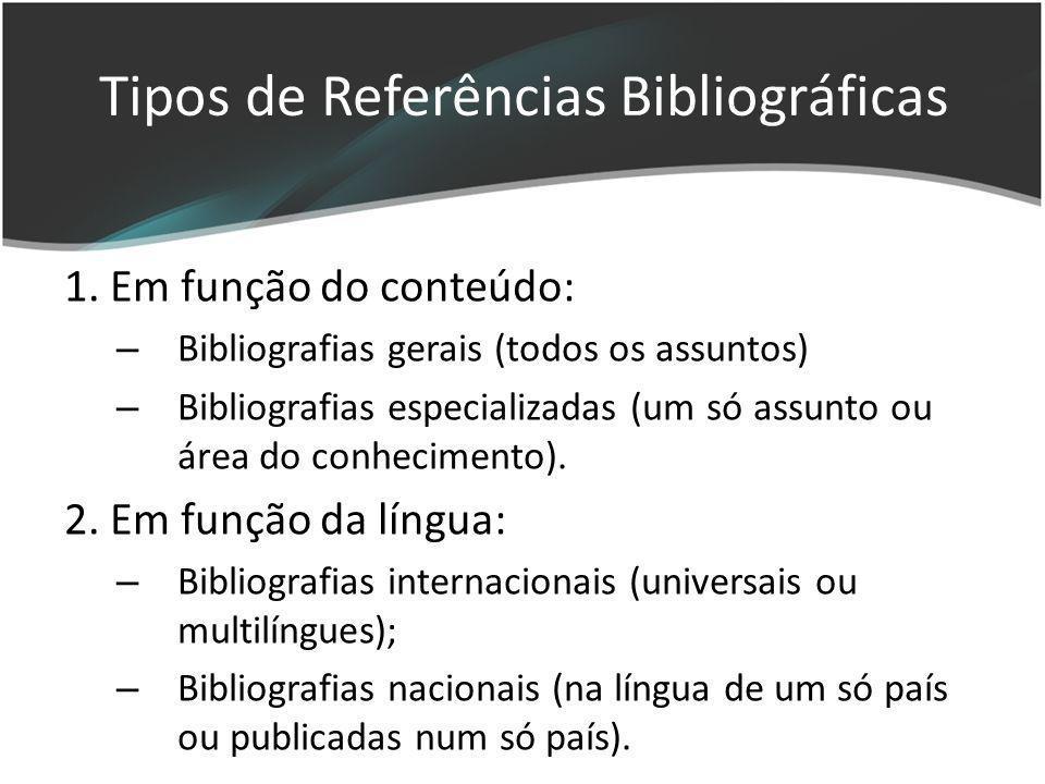 Tipos de Referências Bibliográficas