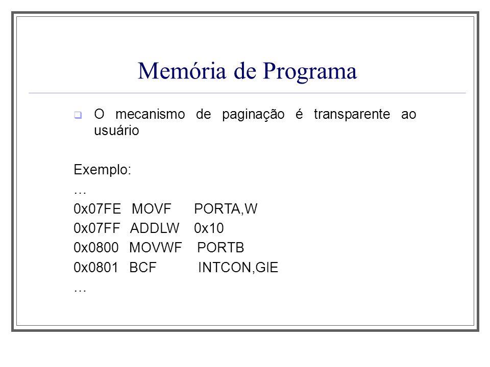 Memória de Programa O mecanismo de paginação é transparente ao usuário
