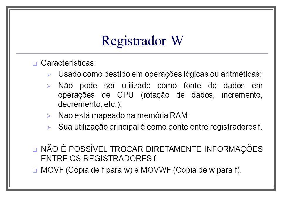 Registrador W Características: