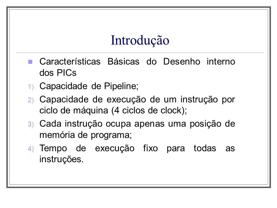 Introdução Características Básicas do Desenho interno dos PICs