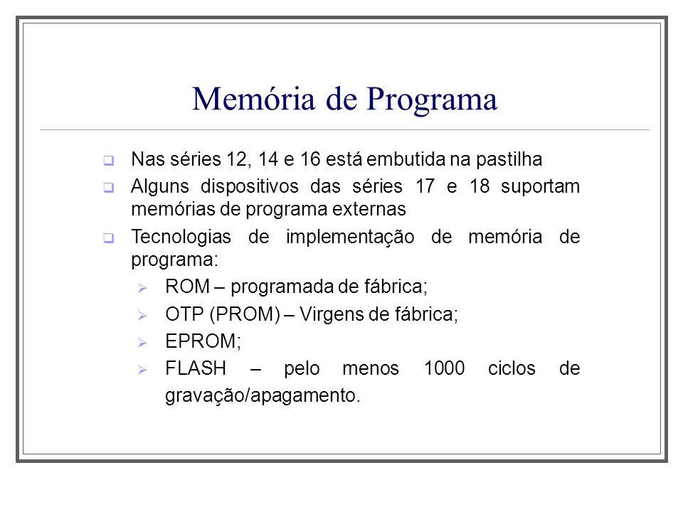 Memória de Programa Nas séries 12, 14 e 16 está embutida na pastilha