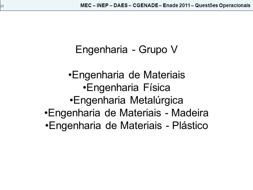 Engenharia de Materiais Engenharia Física Engenharia Metalúrgica