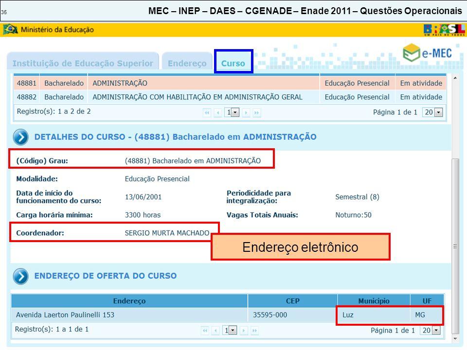 35 MEC – INEP – DAES – CGENADE – Enade 2011 – Questões Operacionais