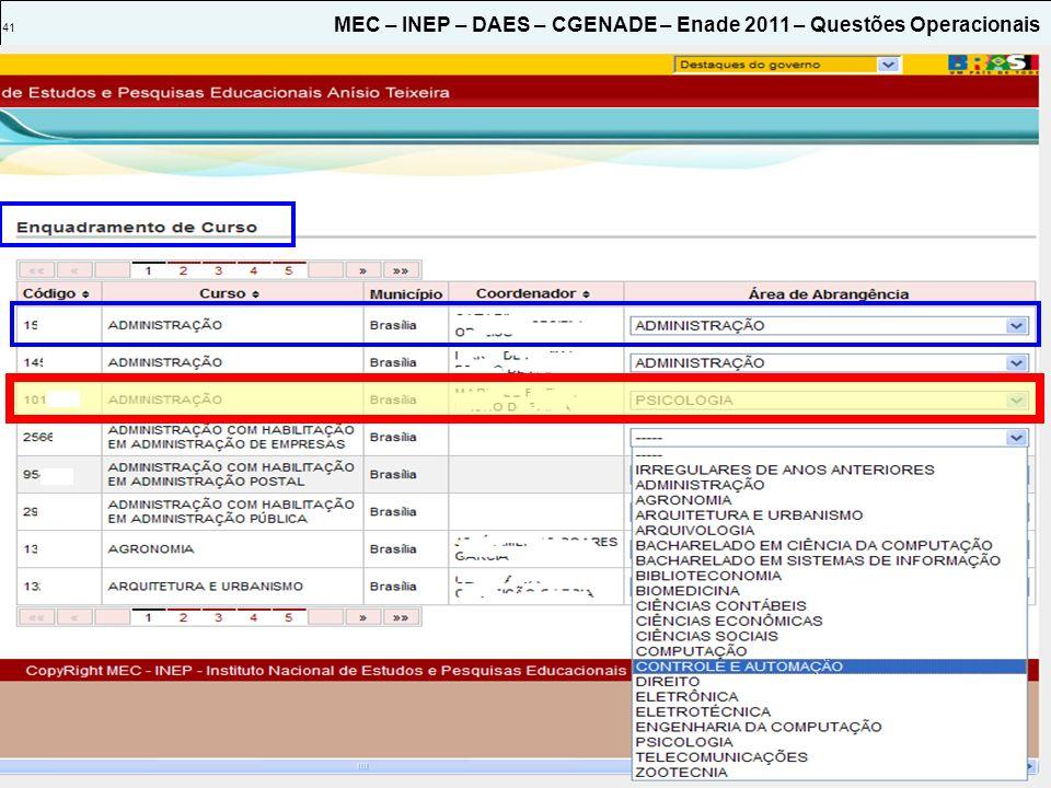 41 MEC – INEP – DAES – CGENADE – Enade 2011 – Questões Operacionais