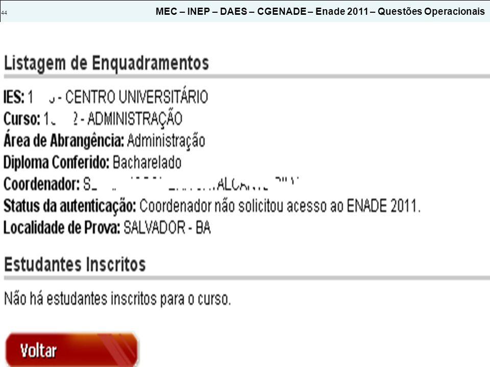 44 MEC – INEP – DAES – CGENADE – Enade 2011 – Questões Operacionais