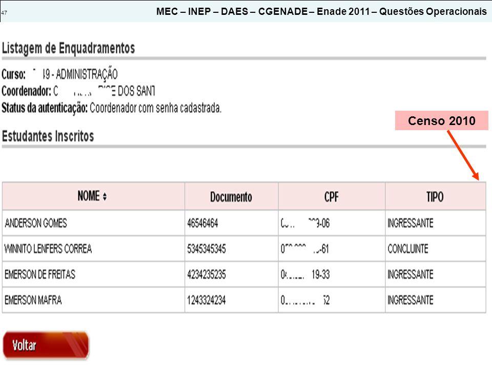 47 MEC – INEP – DAES – CGENADE – Enade 2011 – Questões Operacionais