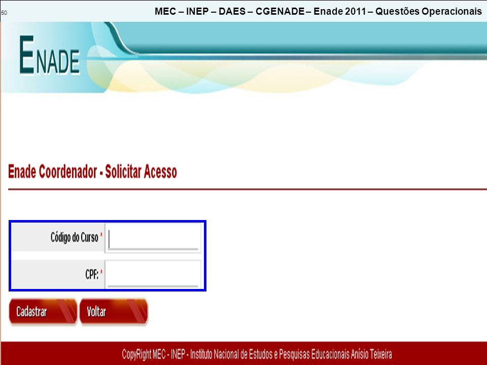 50 MEC – INEP – DAES – CGENADE – Enade 2011 – Questões Operacionais