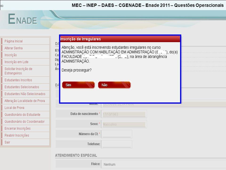 60 MEC – INEP – DAES – CGENADE – Enade 2011 – Questões Operacionais
