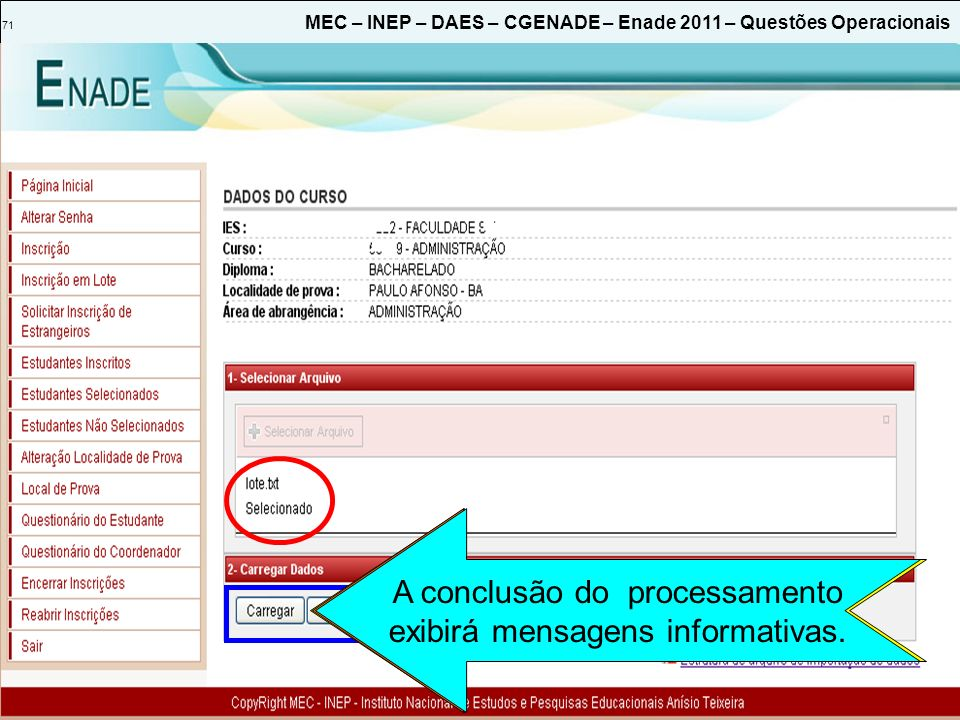 Inicia o processamento do arquivo de importação de dados.