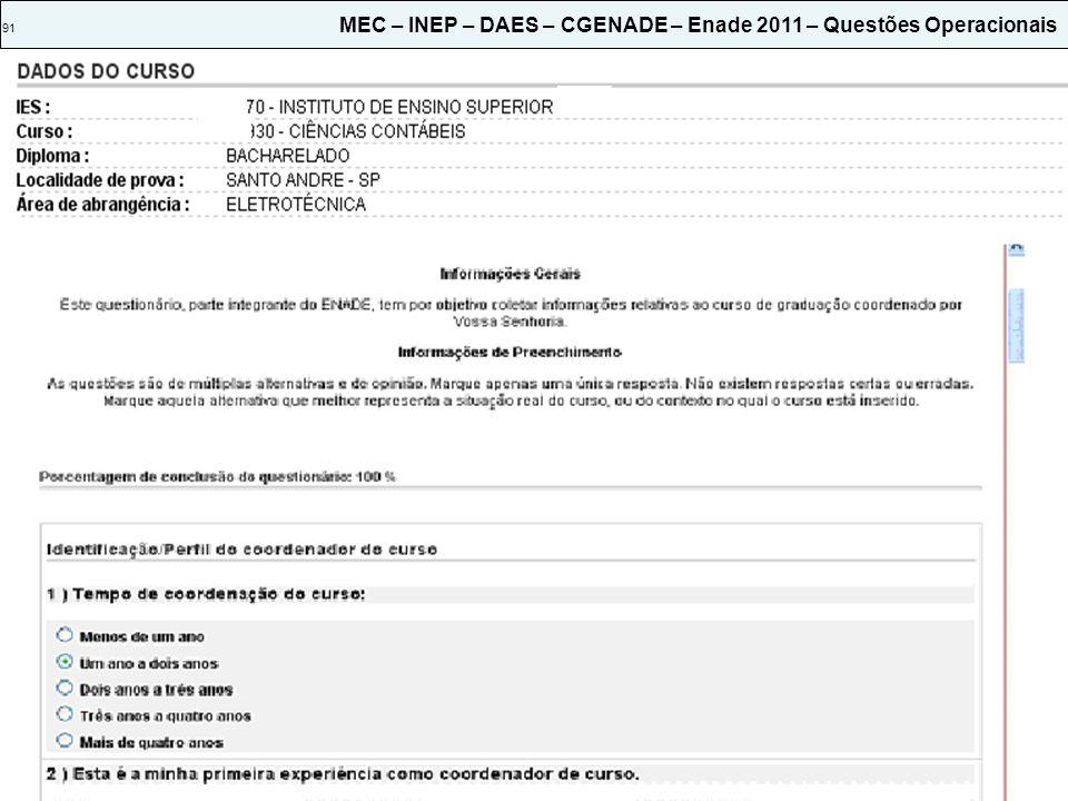 91 MEC – INEP – DAES – CGENADE – Enade 2011 – Questões Operacionais