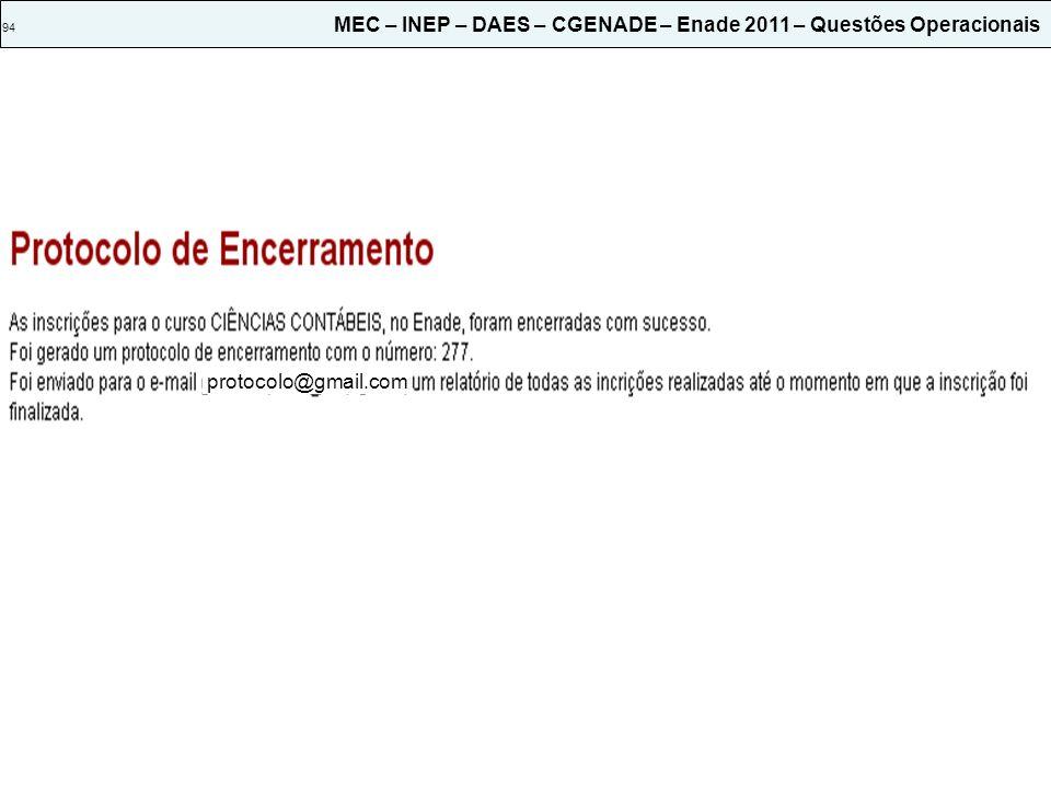 94 MEC – INEP – DAES – CGENADE – Enade 2011 – Questões Operacionais