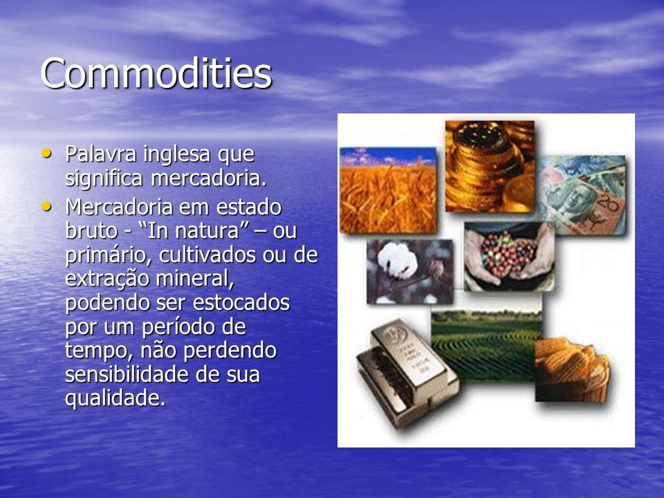 Commodities Palavra inglesa que significa mercadoria.