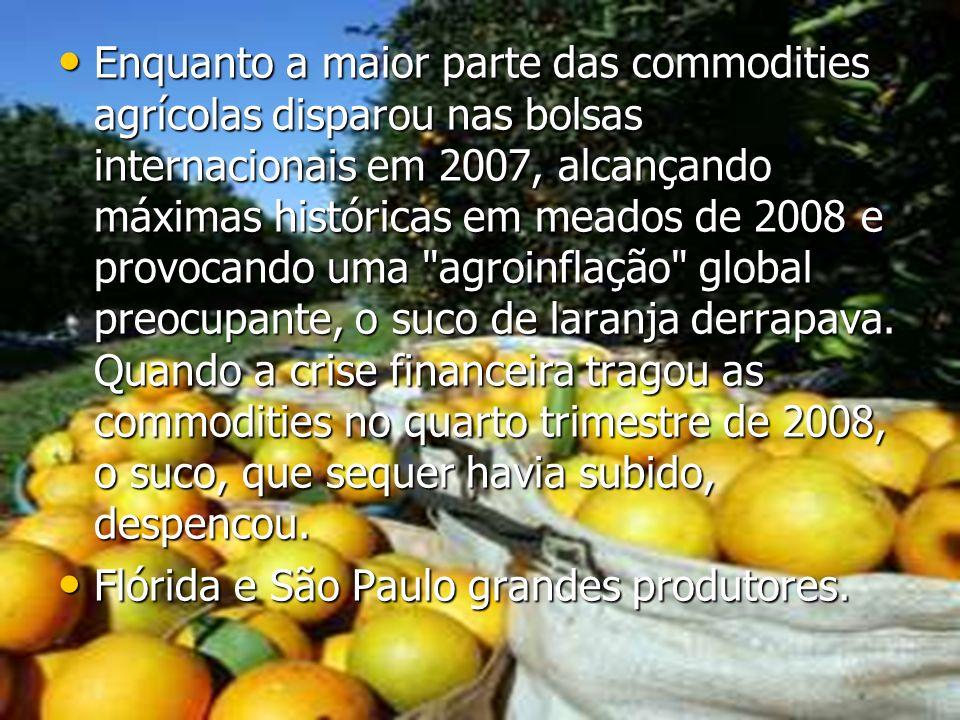Enquanto a maior parte das commodities agrícolas disparou nas bolsas internacionais em 2007, alcançando máximas históricas em meados de 2008 e provocando uma agroinflação global preocupante, o suco de laranja derrapava. Quando a crise financeira tragou as commodities no quarto trimestre de 2008, o suco, que sequer havia subido, despencou.