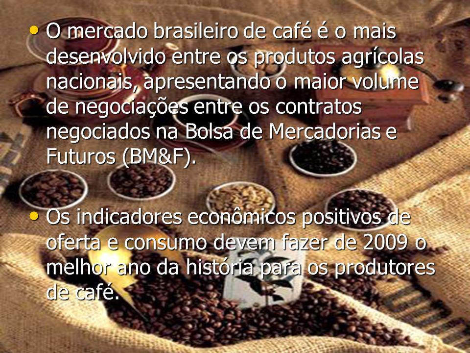 O mercado brasileiro de café é o mais desenvolvido entre os produtos agrícolas nacionais, apresentando o maior volume de negociações entre os contratos negociados na Bolsa de Mercadorias e Futuros (BM&F).