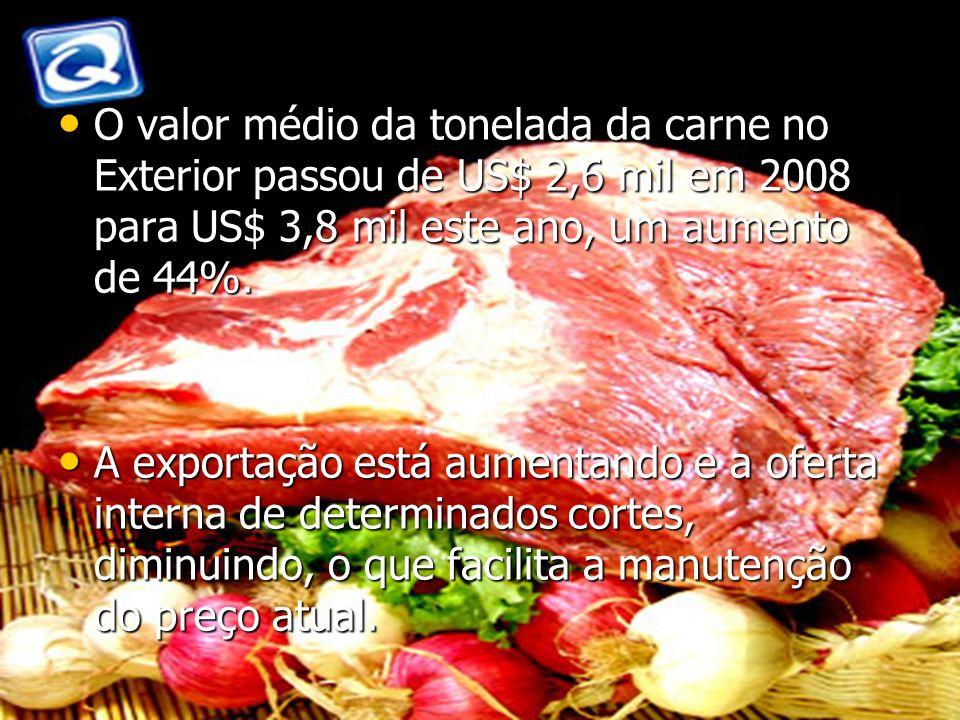 O valor médio da tonelada da carne no Exterior passou de US$ 2,6 mil em 2008 para US$ 3,8 mil este ano, um aumento de 44%.
