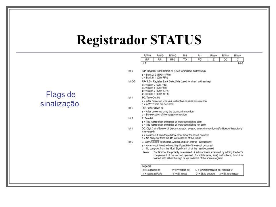 Aula 1 Registrador STATUS Flags de sinalização.