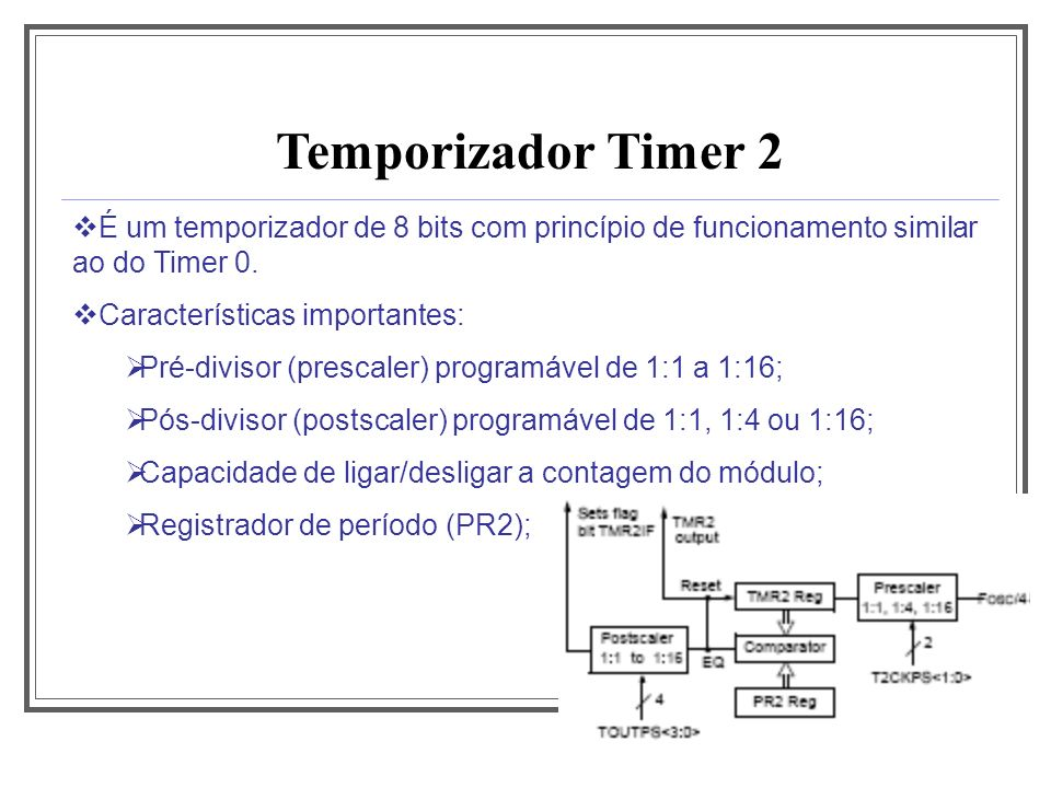 Aula 1 Temporizador Timer 2. É um temporizador de 8 bits com princípio de funcionamento similar ao do Timer 0.