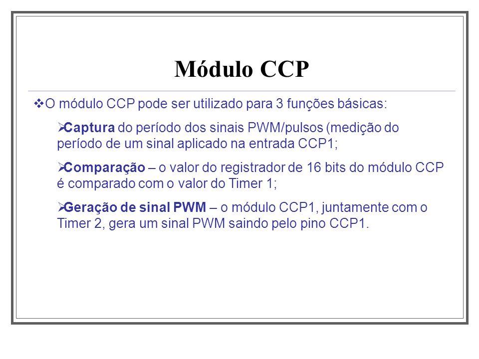 Módulo CCP O módulo CCP pode ser utilizado para 3 funções básicas: