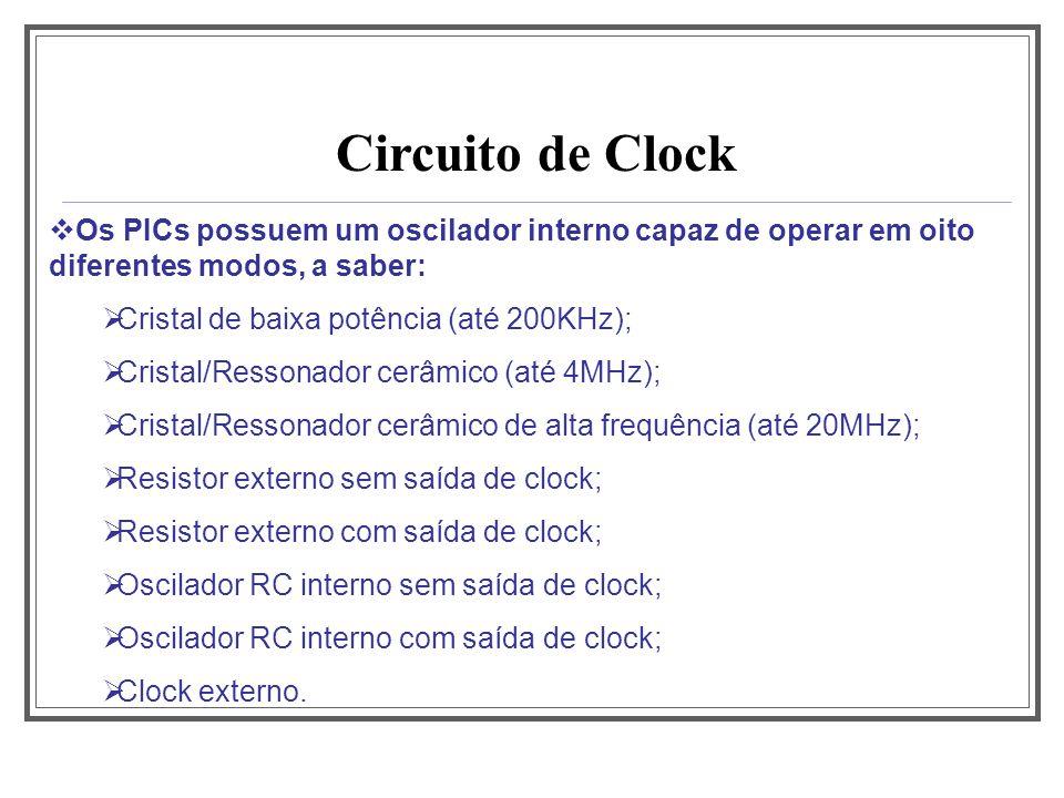 Aula 1 Circuito de Clock. Os PICs possuem um oscilador interno capaz de operar em oito diferentes modos, a saber: