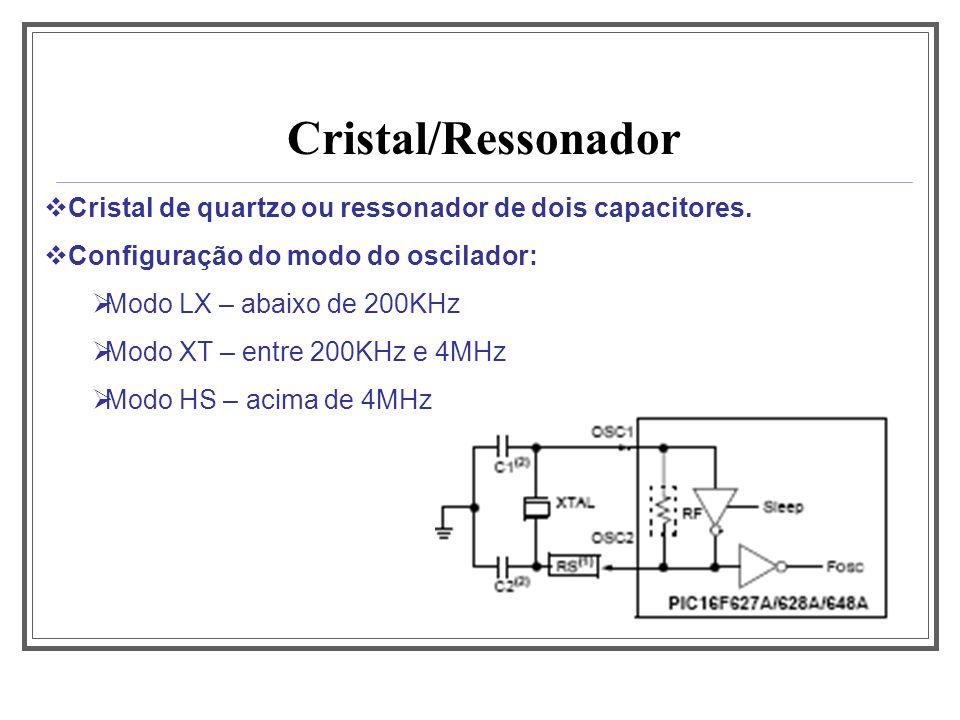 Aula 1 Cristal/Ressonador. Cristal de quartzo ou ressonador de dois capacitores. Configuração do modo do oscilador:
