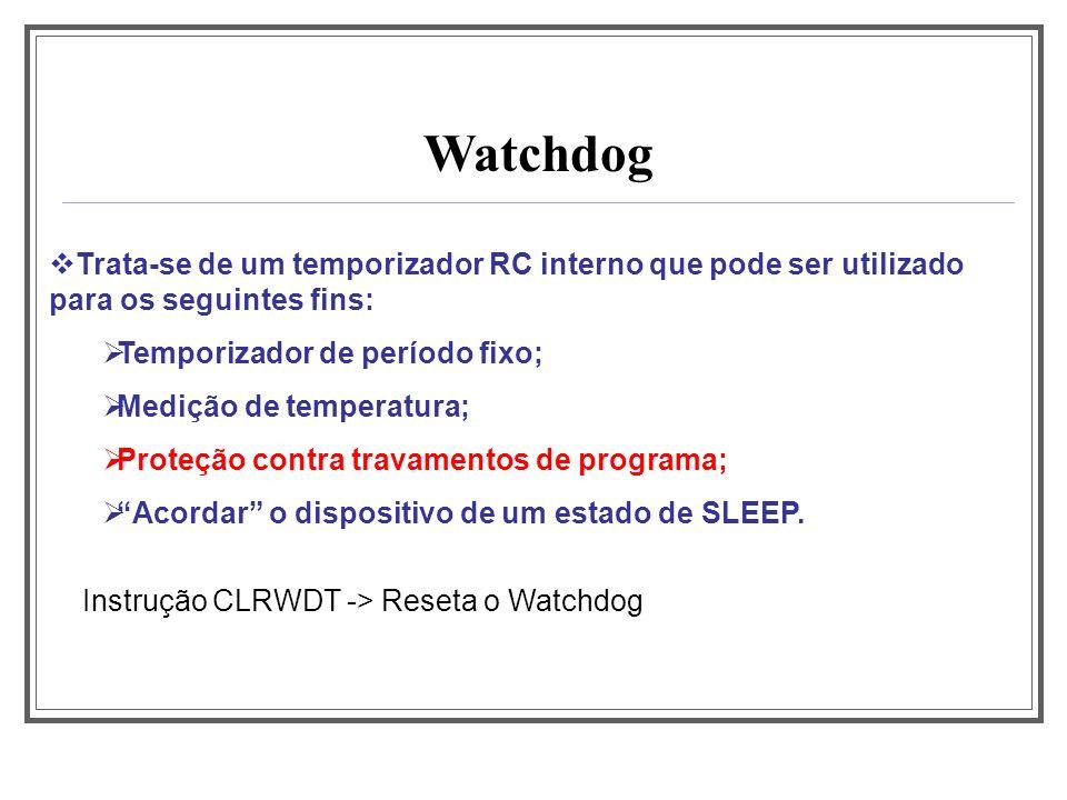 Aula 1 Watchdog. Trata-se de um temporizador RC interno que pode ser utilizado para os seguintes fins: