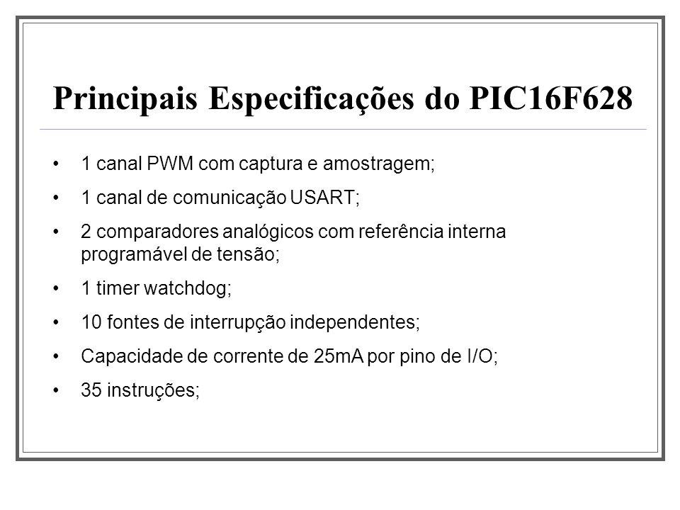 Principais Especificações do PIC16F628