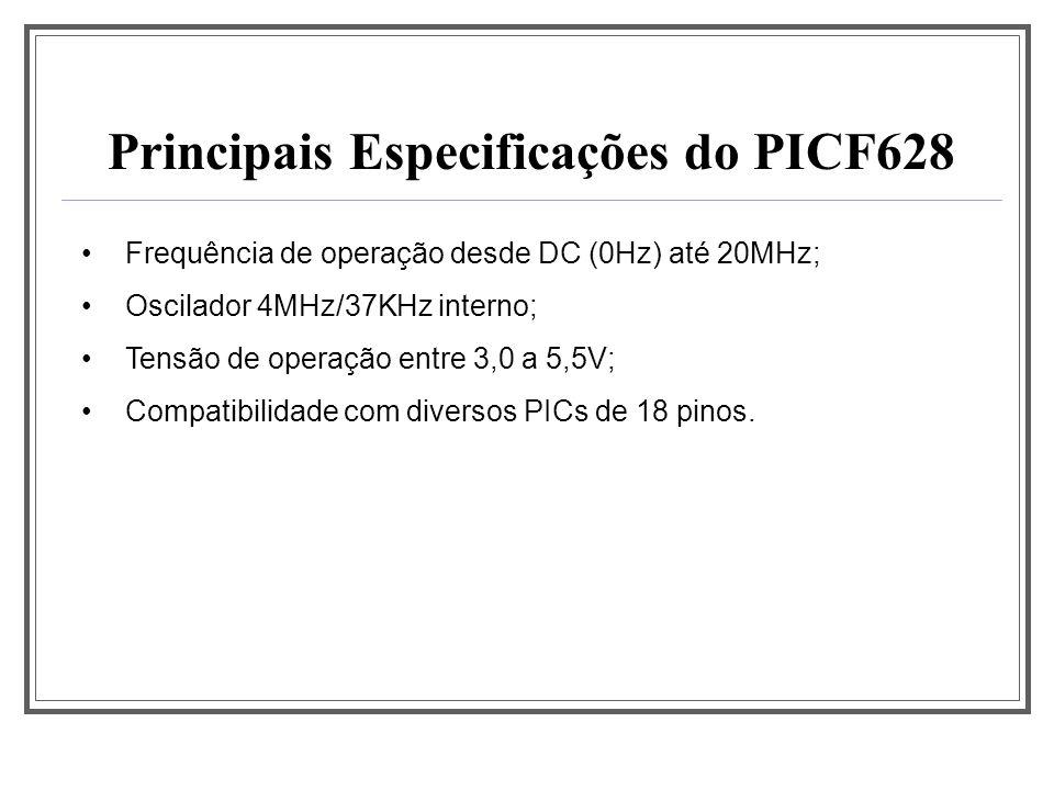 Principais Especificações do PICF628