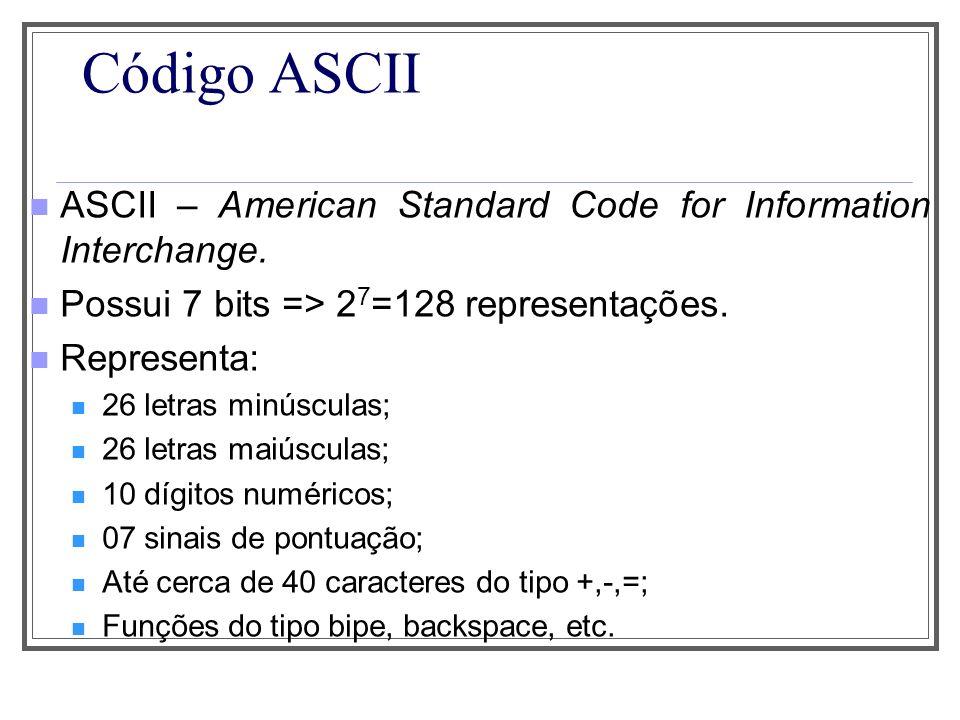 Código ASCII ASCII – American Standard Code for Information Interchange. Possui 7 bits => 27=128 representações.