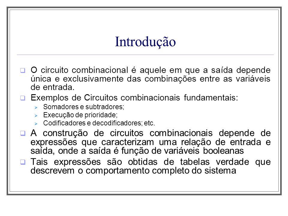 Aula 1 Introdução. O circuito combinacional é aquele em que a saída depende única e exclusivamente das combinações entre as variáveis de entrada.