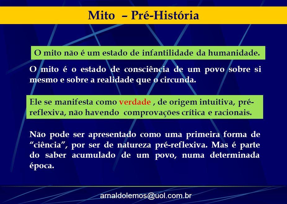 Mito – Pré-HistóriaO mito não é um estado de infantilidade da humanidade.