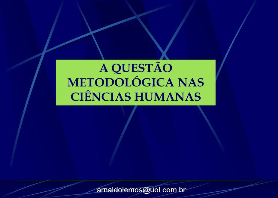 A QUESTÃO METODOLÓGICA NAS CIÊNCIAS HUMANAS