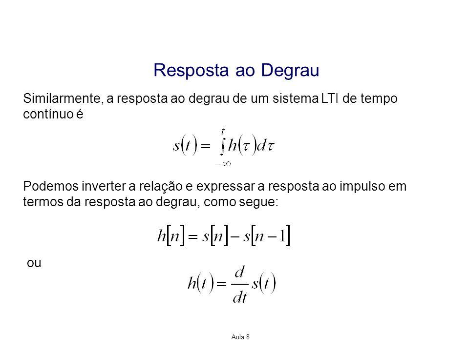 Resposta ao Degrau Similarmente, a resposta ao degrau de um sistema LTI de tempo contínuo é.