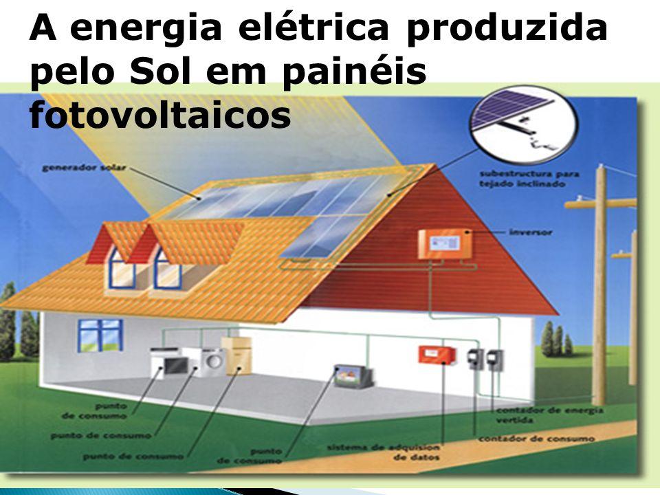 A energia elétrica produzida pelo Sol em painéis fotovoltaicos