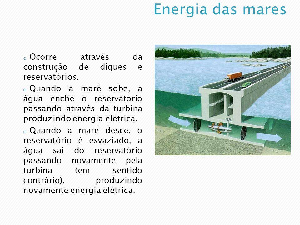 Energia das mares Ocorre através da construção de diques e reservatórios.