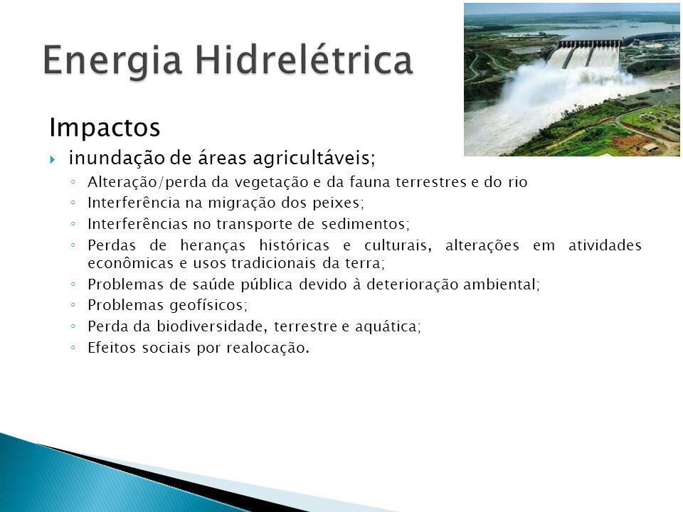 Energia Hidrelétrica Impactos inundação de áreas agricultáveis;